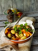 Squash tagine with chestnuts and apple