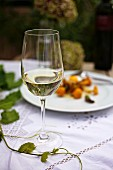 A glass of white wine on an autumnal table