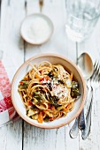 Linguine with chard