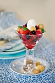 Berry salad with whipped cream