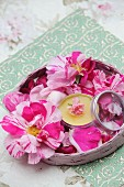 Homemade rose lip balm