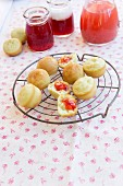 Waffle dough cakes with strawberry jelly