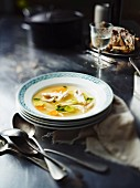 Chicken soup with carrots and leek