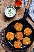 Lentil cakes with a yogurt dip