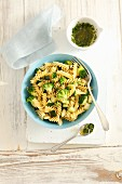 Fusilli with broccoli, courgette and gremolata