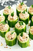 Cucumber rolls with tuna filling