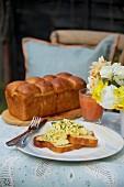Brioche with scrambled egg