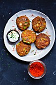 Lentil puffers with yogurt and paprika