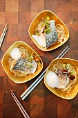 Bass with rice noodles