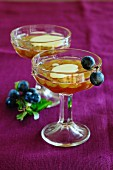 Grape jelly in dessert glasses