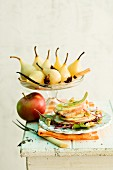 Apple mille feuilles and spiced pears