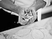 Hand kneading dough