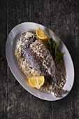 Gilt-head bream in a salt crust with lemon
