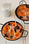 Clafoutis with apricots and blackberries