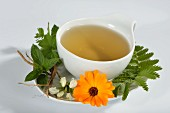 A cup of herbal tea with marigold, dead-nettle, lemon balm, silverweed, peppermint and valerian root