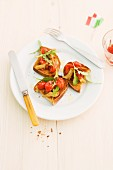 Crostini with tomatoes and rocket (Italy)