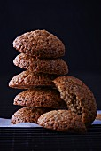 Coffee biscuits, stacked