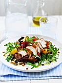 Chicken with roasted vegetables and rocket