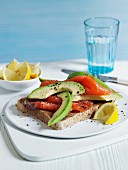 Rye bread with smoked salmon and avocado