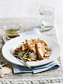 Salmon tataki with sesame seeds and vegetable salad