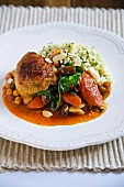 Braised chicken with vegetables and couscous