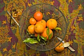 Citrus fruits in a wire basket