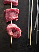 Raw beef kebabs