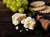 Wensleydale cheese with grapes and biscuits from Yorkshire, England