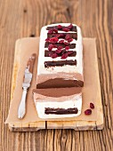 A chocolate terrine with mascarpone, cream and three types of chocolate