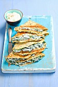 Pancakes with a spinach and ricotta filling