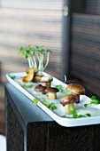 Fried porcini mushrooms with cress