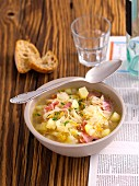 Sauerkraut soup with potatoes and pancetta