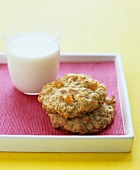 Oat and apricot cookies and a glass of milk