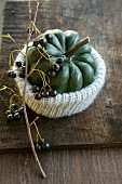 An ornamental pumpkin in a knitted cover with a sprig of aronia berries