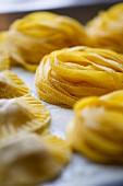 Homemade tagliatelle and ravioli