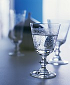 Elegant crystal glasses with a floral engraved pattern
