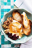 Goat's cheese with honey, walnuts, dried cranberries and toast