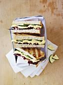 Egg salad and radicchio sandwiches in a picnic box