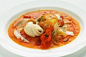 Sole fillet in tomato broth with wholemeal pasta
