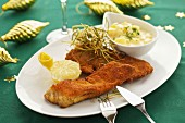 Breaded carp fillet with potato salad