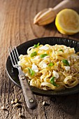 Tagliatelle with feta, lemon and basil