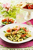 Pasta with broccoli pesto and ham