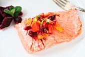 Salmon fillet with citrus salsa made from blood oranges