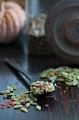 Coarse salt and pumpkin seeds