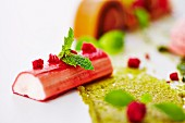 Rhubarb with pistachio cream and mint