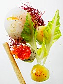 A poached egg with beetroot sprouts and lettuce leaves, a dollop of mayonnaise and a quail's egg shell filled with salmon caviar