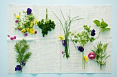 Various herbs and edible flowers on a cloth
