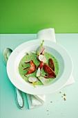 Radish leaf soup with chorizo