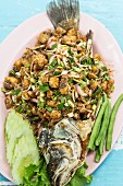 Fried fish with vegetables, Thailand