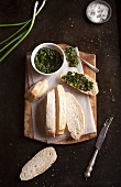 White bread with salsa verde